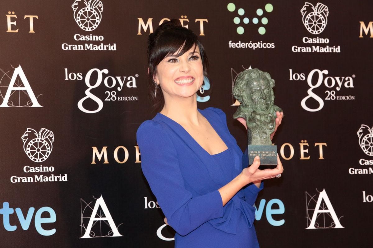 Marián Álvarez celebrando el Premio Goya 2014