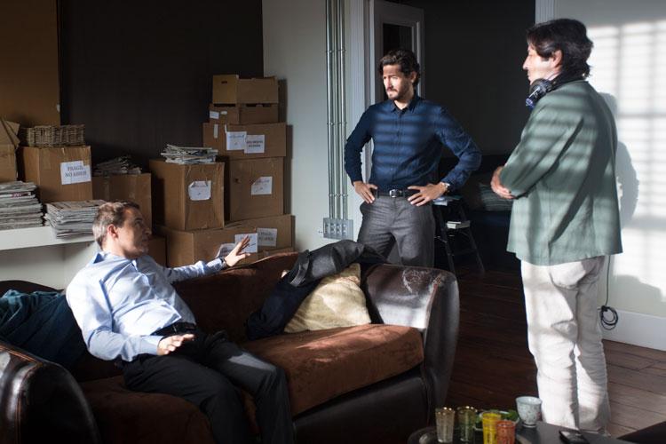 Juan Diego Botto, Alberto San Juan y Manuel Gómez Pereira en el rodaje de La ignorancia de la sangre