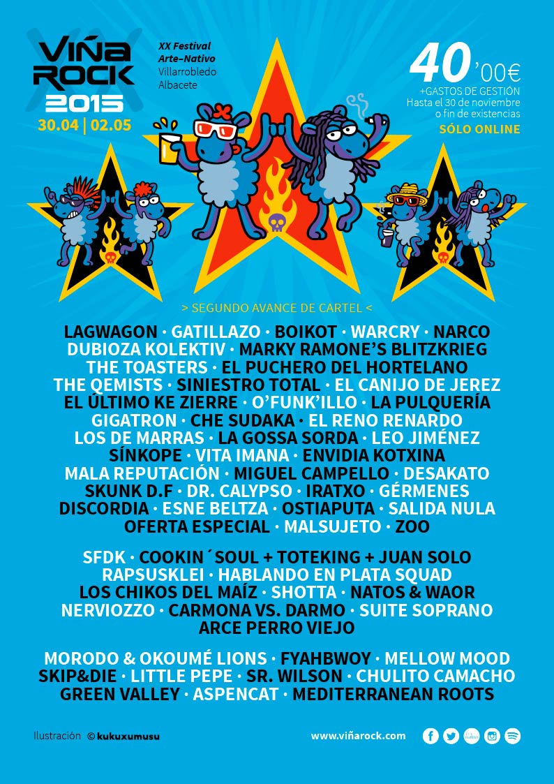 Cartel tras la segunda tanda de confirmaciones del Viña Rock 2015