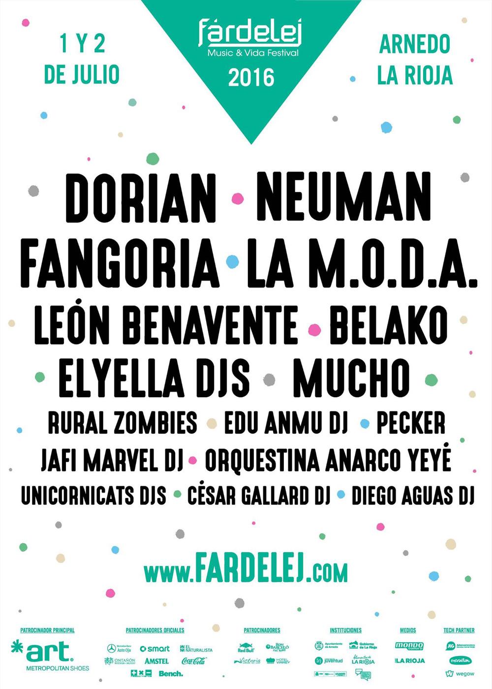 Cartel musical completo de la edición 2016 del Festival Fárdelej