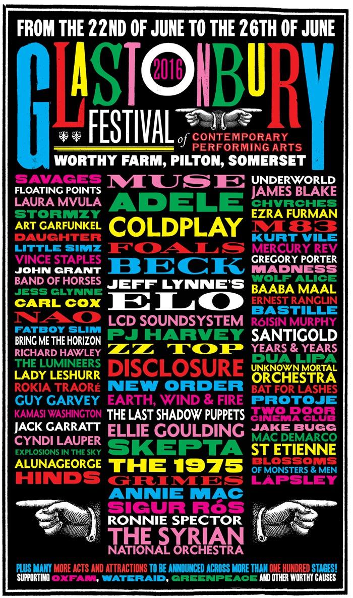 Cartel del Festival de Glastonbury 2016