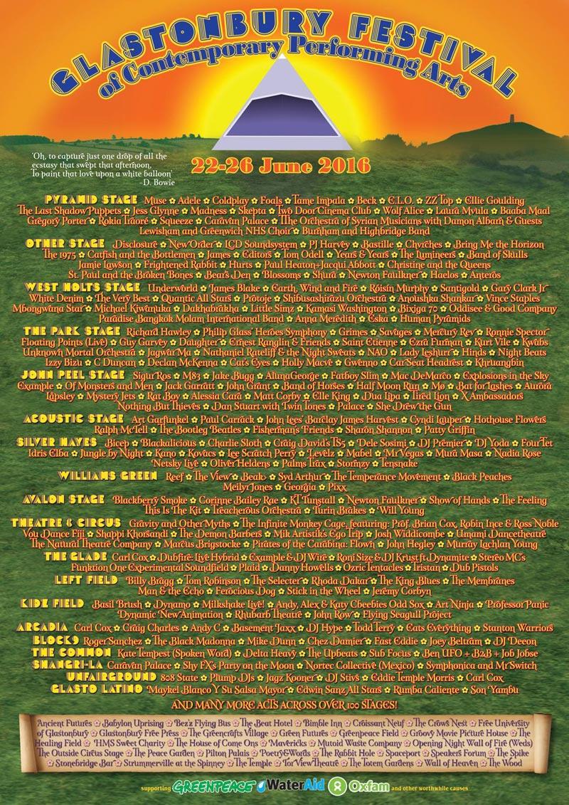 Cartel por escenarios del Festival de Glastonbury 2016