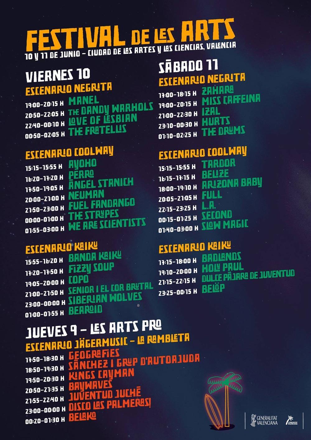 Cartel con horarios del Festival de les Arts 2016