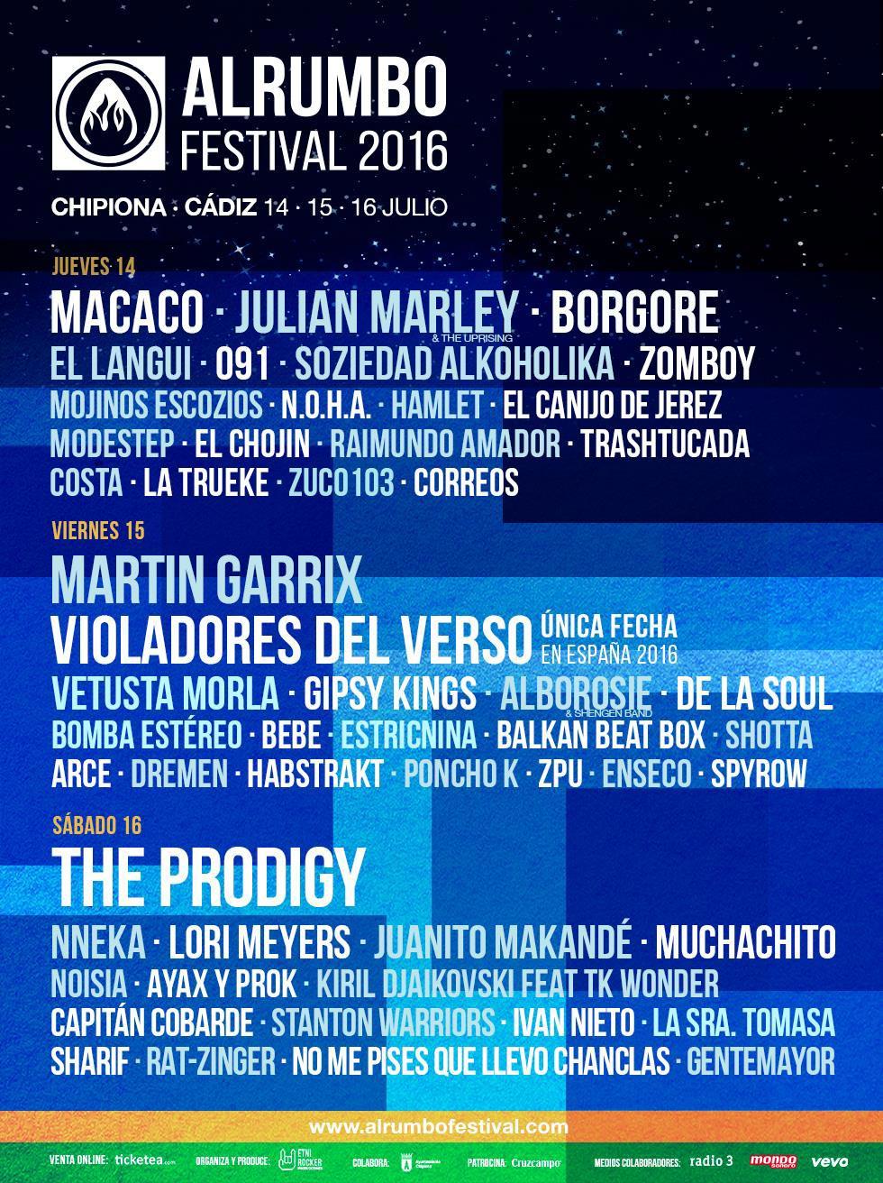 Cartel por días del Alrumbo Festival 2016