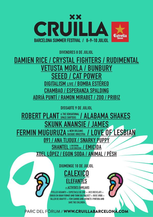 Cartel por días del Cruïlla Barcelona Summer Festival 2016