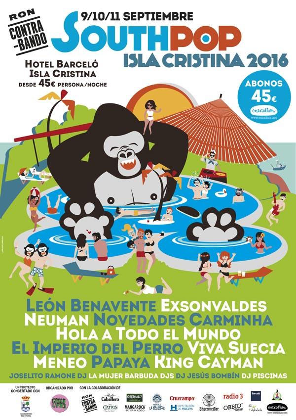 Cartel del South Pop Isla Cristina 2016