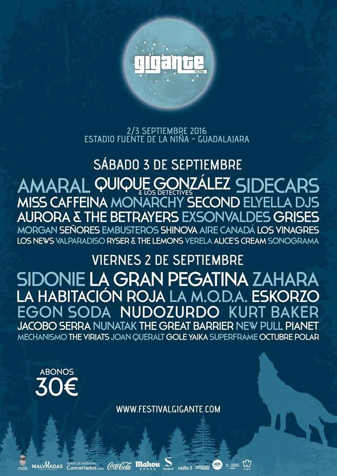 Cartel del Festival Gigante 2016