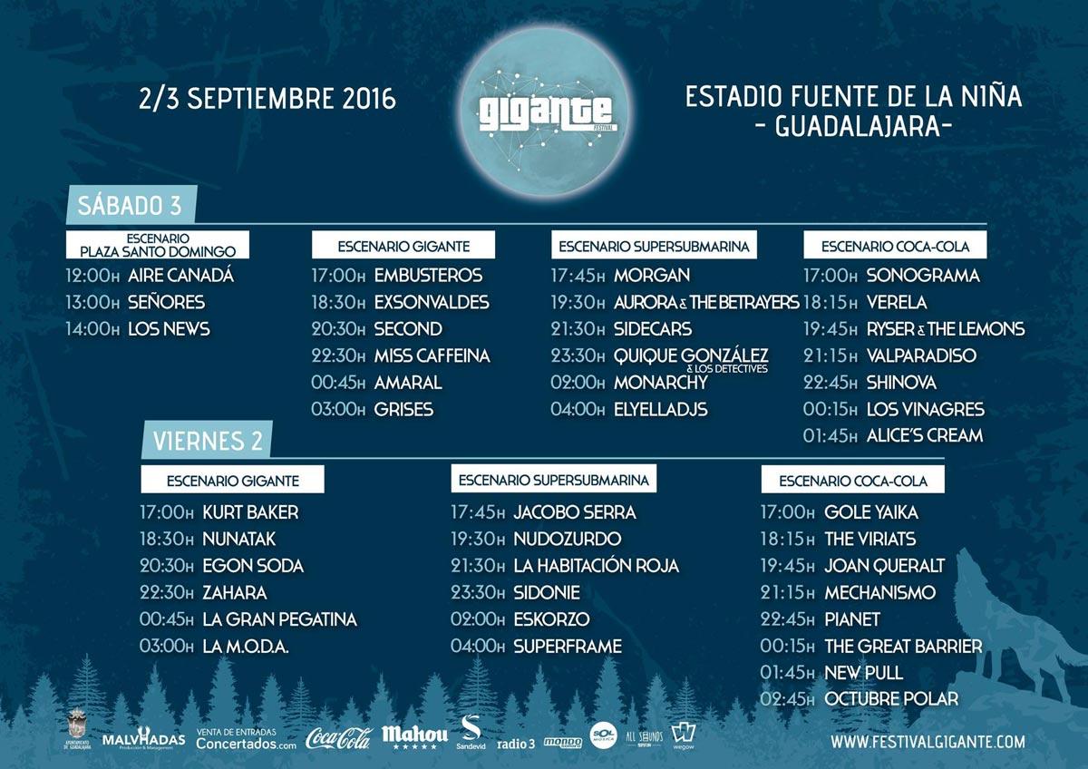Horarios del Festival Gigante 2016