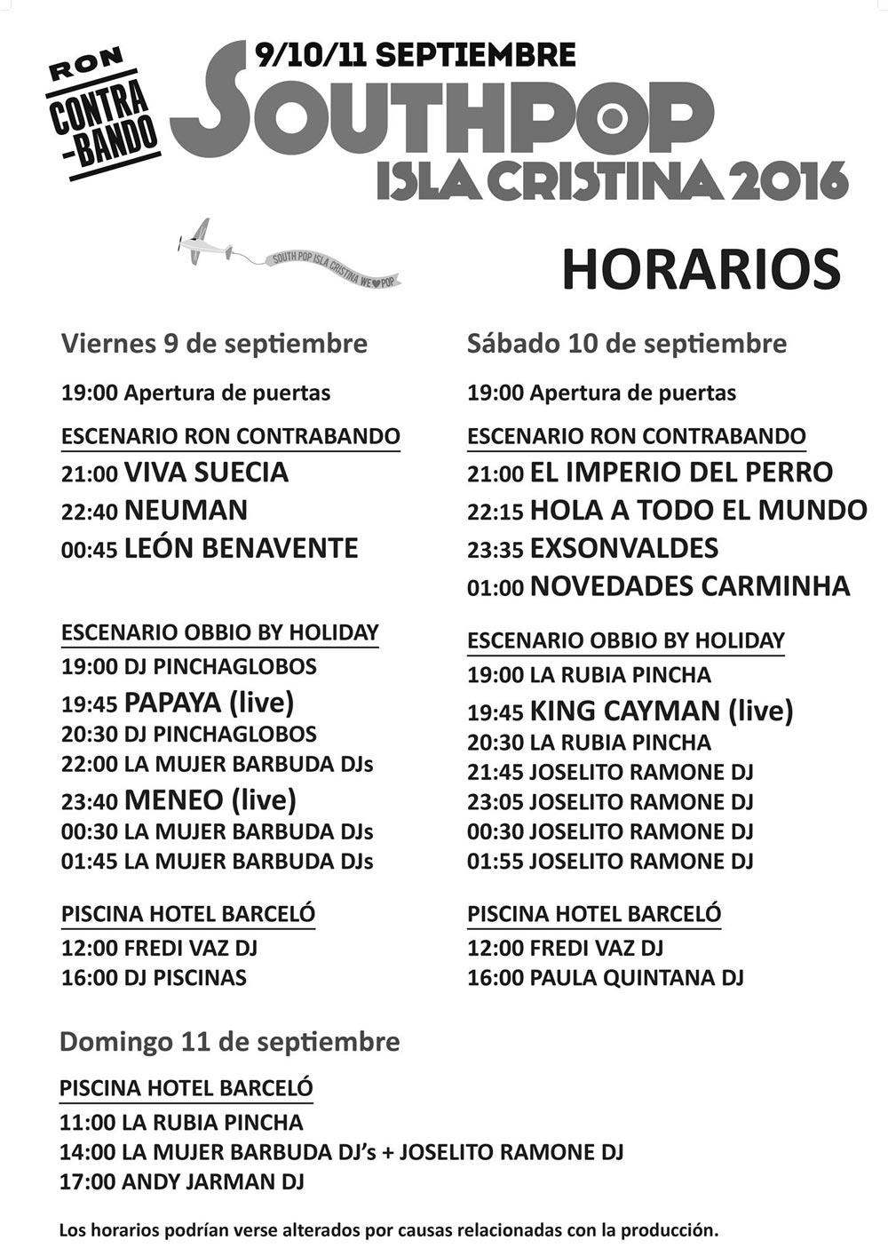 Horarios del South Pop Isla Cristina 2016