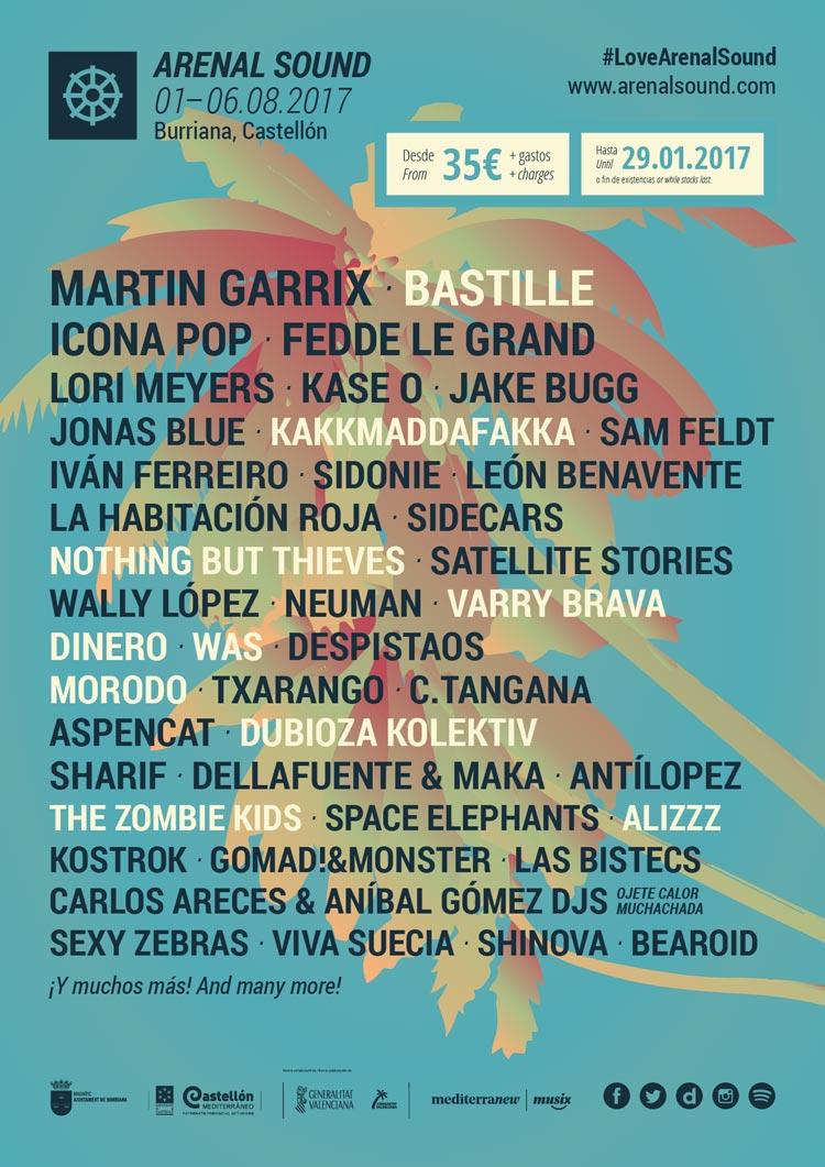 Cartel provisional del Arenal Sound 2017 con Bastille