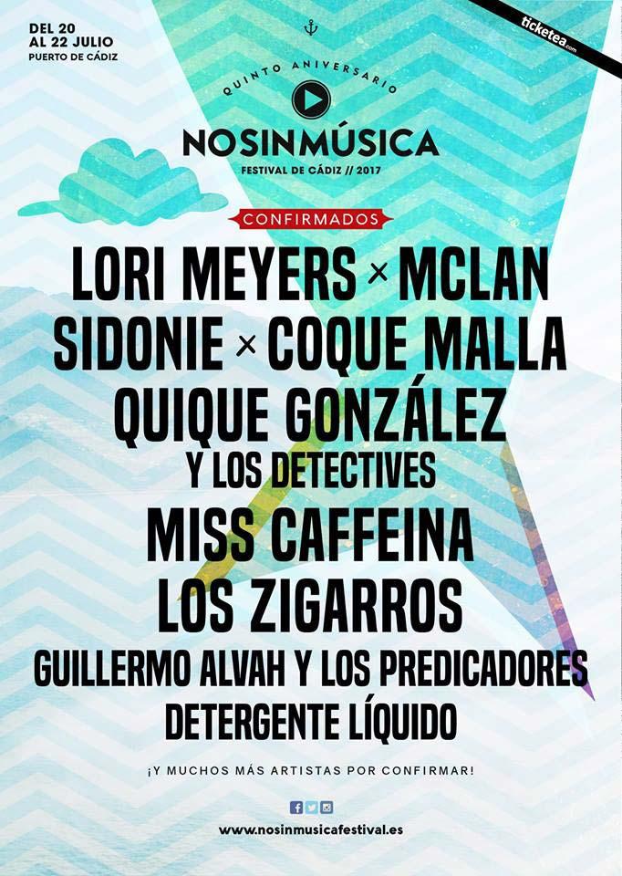 Cartel provisional del No sin Música Festival 2017
