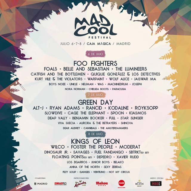 Cartel del Mad Cool Festival 2017 a falta de 4 bandas