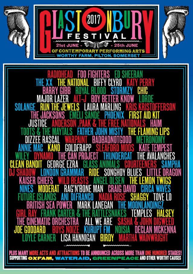 Cartel del Festival de Glastonbury 2017