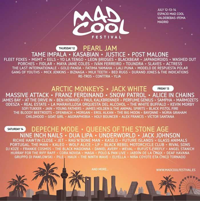 Cartel provisional del Mad Cool Festival 2018 a 6 de febrero