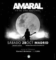 Amaral anuncia concierto fin de gira Nocturnal